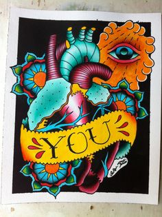 Heart with Eye / Traditional Neotraditional Tattoo Flash Watercolor Watercolour All Seeing Third $40.00