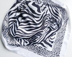 Zebra Satin scarf, Gift for Coworker, Chemo Cover up, Black headband, Animal print Scarf, Office Neckerchief, Black White Striped Scarf 10 by blingscarves. Explore more products on http://blingscarves.etsy.com