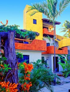 Cottage, Sayulita love the bright colors makes the house stand out. Makes you want to see the inside.