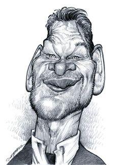 Patrick Swayze - caricature illustrated by Jan Op DeBeeck  http://www.pinterest.com/haldun17/cartoon/