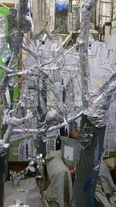 The Tin Forest by Helen Ward and The Flower by John Light Classroom Display School Art Projects, Art School, School Stuff, Year 1 Classroom, Classroom Displays, Art Activities, Maths, Enchanted, Iron Man