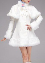 Vintage Long Sleeves Double Breasted Faux Fur Splicing Coat and Capelet For Women
