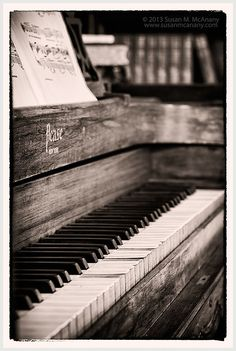 Long Ago, Vintage Piano Wall Art, Home Decor, Black and White, Horizontal, Music Art, Photography, Home Accessories, Sepia, Library Art