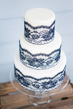 Perfection! Classic iced wedding cake with blue lace detail
