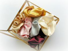 Satin Scrunchy made from a silky satin fabric One size fits all Opens up to approx 7 inches. Choose your color in the drop down box: Ivory Champagne Burgandy Grey / Silver Gold Light Pink Champagne Bridal Hair Chain, Flapper Headpiece, Hair Chains, Halo Hair, Lace Veils, Gold Light, Chantilly Lace, Pink Champagne, Bridal Headpieces