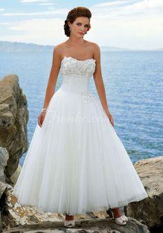 strapless ankle length sleeveless appliques tulle wedding dress - Frankc.com