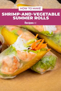 76 mins. · Serves 8 · These loaded Vietnamese rolls are packed with plump shrimp and crisp, fresh veggies, served with a savory sauce, to yield a tasteful lunch meal! Learn how to make a batch of Shrimp-and-Vegetable Summer Rolls with this recipe. #Recipes #Food #Crave #Tasty #Yummy #Delicious #FoodTrip #FoodLover #Recipes.net #foodporn #Cook #Cooking #Foodie #foodblog #homemade #summermeals Wrap Recipes, Lunch Recipes, Summer Recipes, Shrimp And Vegetables, Veggies, Vietnamese Rolls, How To Make Shrimp, Summer Rolls, Rolls Recipe