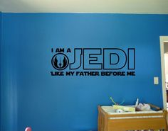 I Am A Jedi Like My Father Before Me Star Wars Quote Vinyl Wall Decal Sticker | eBay