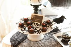 Spooky & Elegant Forrest Halloween Party #spiders #halloween #party #desserts #table