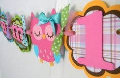 Owl Birthday Party High Chair Mini Banner in Bright Colors.