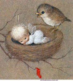 """Little Christmas Thoughts"" . Vintage Christmas Cards, Christmas Images, Christmas Angels, Christmas Art, Christmas Decorations, Christmas Poinsettia, Xmas, Christmas Thoughts, Angel Pictures"