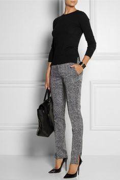 Theory | Wool-blend sweater, Antonio Berardi pants, Jimmy Choo shoes, and 3.1 Phillip Lim bag.