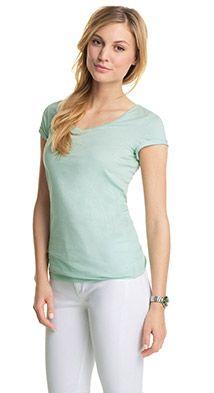 Baumwoll V-Ausschnitt T-Shirt