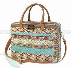 Kate&Co.® Colorful Bohemian Strip Flower Canvas PVC Women Laptop Bag for 14inch 12inch