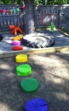30 Ideas diy outdoor kids play area old tires Kids Backyard Playground, Backyard For Kids, Playground Design, Garden Kids, Backyard Projects, Children Playground, Garden Path, Kids Yard, Gravel Garden