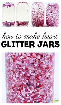 How to make a glitter jar that sparkles this Valentine's Day! Preschoolers will love this heart glitter jar for the sensory center. day crafts Valentine Sensory Bottles with Floating Glitter Hearts Toddler Valentine Crafts, Valentine Sensory, Valentines Day Activities, Valentines Day Party, Glitter Sensory Bottles, Glitter Jars, Glitter Crafts, Valentine's Day Crafts For Kids, Gifts For Kids