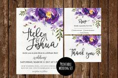 Printable Floral Wedding Invitation Flower Wedding