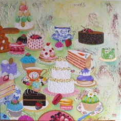 Cupcakes and Memories - mixed media on canvas