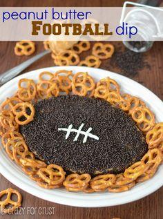 Peanut Butter Football Dip | crazyforcrust.com | The original peanut butter football dip! #football #dip #peanutbutter