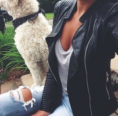 Most popular tags for this image include: fashion, style, girl, outfit and dog