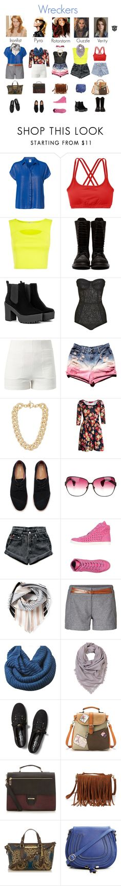 """""""newbies"""" by femme-mecha ❤ liked on Polyvore featuring Vero Moda, Athleta, Cameo Rose, Rick Owens, Lost Society, Michael Kors, Boohoo, TOMS, Chrome Hearts and Levi's"""