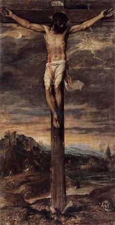 The Crucifixion by Titian - Tiziano Vecelli or Tiziano Vecellio (Italian c. 1488/1490–1576)