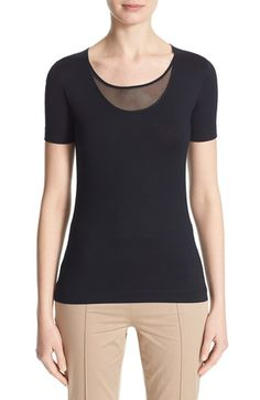 Free shipping and returns on Akris punto Mesh Inset Scoop Neck Tee at Nordstrom.com. A sheer, perforated mesh inset lends modern contrast to this scoop-neck stretch-cotton tee while adding a touch of sports-inspired style.