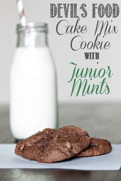 Love chocolate and mints? These Devil's Food Cake Mix Cookies with Junior Mints!  They're super easy and satisfy that chocolate craving!