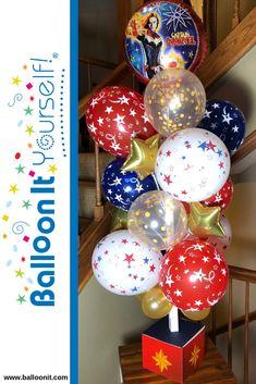 Marvel Birthday Cake, Marvel Cake, Girls Party Decorations, Balloon Decorations, Party Themes, Balloons On Sticks, Helium Balloons, Superhero Party Food, Captain America Birthday
