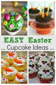 Easy Easter cupcake ideas for kids. They are all super cute and simple to make w. Easy Easter cupcake ideas for kids. They are all super cute and simple to make which makes them perfect for Easter e Pavlova, Oster Cupcakes, Mocha Cupcakes, Gourmet Cupcakes, Strawberry Cupcakes, Velvet Cupcakes, Flower Cupcakes, Vanilla Cupcakes, Cheesecakes