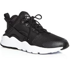 Nike Women's Air Huarache Run Ultra Lace Up Sneakers ($115) ❤ liked on Polyvore featuring shoes, sneakers, black, laced up shoes, nike footwear, black lace up sneakers, lace up sneakers and laced sneakers