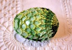 Crochet Lace Covered Plastic Egg by tabachin on Etsy