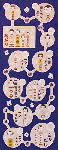 Maeda Senko Wagokoro Tenugui Kokeshi to Sugoroku (Navy blue)