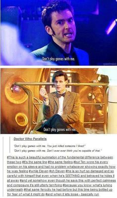"""Don't play games with me."" Said by 10 & 11 very differently. #DoctorWho"