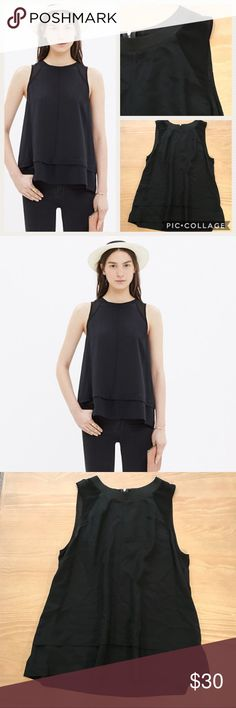 """Madewell Silk Incline Tank in Black Madewell black Silk Incline Tank. Swingy silk shirt with sporty ribbing at neckline. Sheer inset panels at shoulders. Pretty alternative to a tee. Excellent condition. Length 25"""", armpit to armpit width 18"""". Comment with any questions or make an offer. Madewell Tops Tank Tops"""