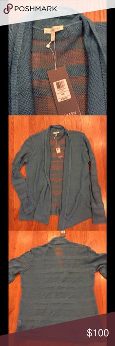 NWT Eileen Fisher open weave cardigan Bluish-green open weave, open cardigan. NOTE: fourth pic shows two minor snags, where the open weave is open a bit more than it should be. More pics upon request. Eileen Fisher Sweaters Cardigans