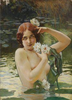 "Paul Jean Gervais (French, 1859-1936), ""Jeune Fille Aux Nénuphars"""