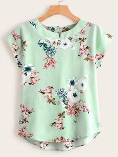 Shein Floral Print High Low Blouse