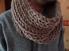 SNOOD / TOUR DE COU EN LAINE COULEUR VISON MIXTE : Echarpe, foulard, cravate par douceurs-de-lilirose