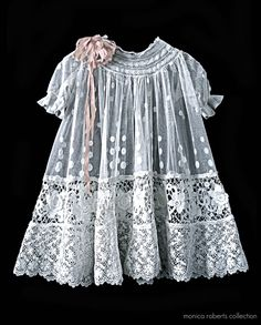 antique French embroidered net and lace baby dress ... ca. 1915
