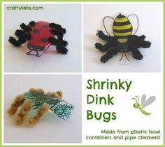 Shrinky Dink Bugs - craft for kids to make from recycled plastic #funcraftsforkids