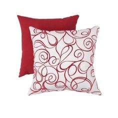 Decorative pillow -- Amazon.com: Pillow Perfect Decorative Flocked Scroll Square Toss Pillow, Red/White: Home & Kitchen