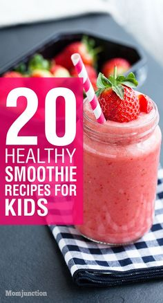 20 Healthy Smoothie Recipes For Kids: Kids are attracted by the colors of smoothies, so your picky eater will not hesitate in having one.Here are some smoothie recipes for kids which you can try. 20 Healthy Smoothie Recipes F Healthy Smoothies For Kids, Smoothie Recipes For Kids, Yummy Smoothies, Baby Food Recipes, Jello Recipes, Kid Recipes, Whole30 Recipes, Smoothies For Toddlers, Yogurt Smoothies