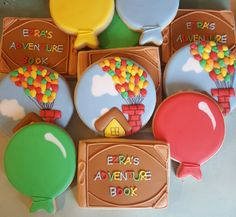 Pixar UP Baby Shower cookies by VR - Sweet, Cake's, Cookies - Boys First Birthday Party Ideas, Baby Birthday, 1st Birthday Parties, Up Pixar, Baby Shower Themes, Baby Shower Decorations, Shower Ideas, Disney Up Wedding, Up Carl Y Ellie
