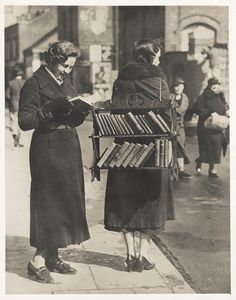 The walking library, London, ca. 1930s.