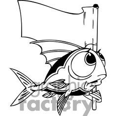 Fish with big eyes holding a flag