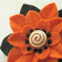 Felt Flower Halloween Pin