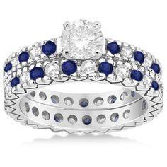 Allurez Diamond & Blue Sapphire Pave Eternity Bridal Set 14k White... ($1,885) ❤ liked on Polyvore featuring jewelry, rings, diamond bridal rings, 14k diamond ring, diamond wedding rings, 14k white gold ring and pave engagement rings