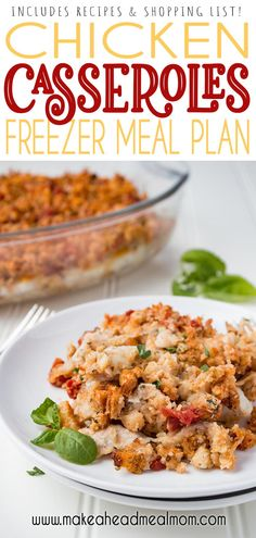 5 easy chicken casseroles - make 10 meals in under 2 hours including cleanup time!  Recipes and shopping list included!!  These are you new family favorite go-to freezer meals!!  #freezer #freezerfriendly #freezermeals #chicken #easydinner #mealplan Best Freezer Meals, Chicken Freezer Meals, Make Ahead Meals, Chicken Recipes, Freezer Recipes, Rib Recipes, Meal Recipes, Dinner Recipes, Dinner Ideas