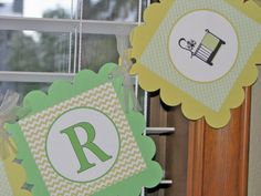 Baby Shower banner in greens and yellows by sweetshoppepaperie, $20.00